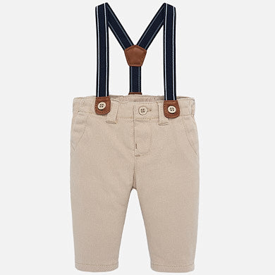 Khaki Colored Pants w/Suspenders
