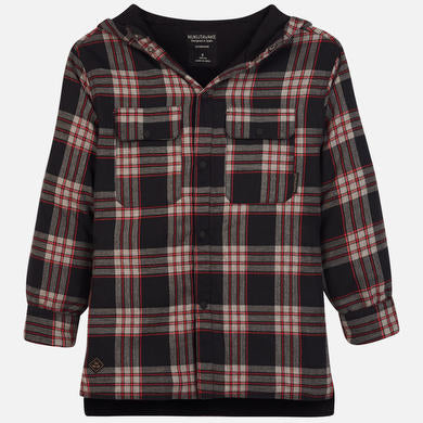 Hooded Plaid Overshirt