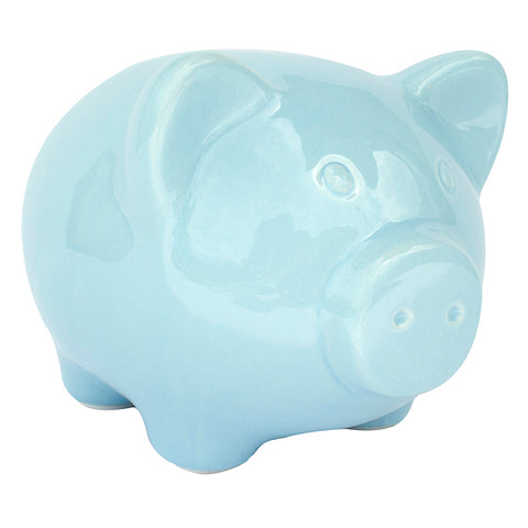 Blue Ceramic Pig Bank