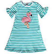 Striped Cotton Flamingo Dress