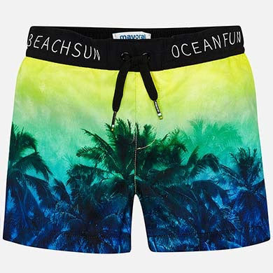 Palm Tree Print Swim Trunks