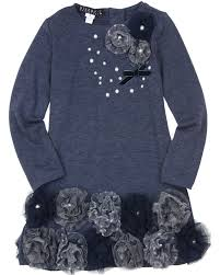 Navy and Flower Applique Dress