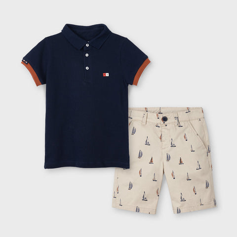Sailboat Print Shorts + Polo Set