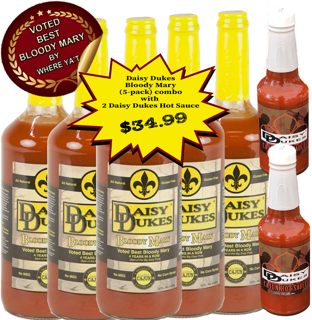 Daisy Dukes® Bloody Mary Mix Pack of 5 combo with 2 free Hot Sauce-Daisy Dukes Bloody Mary-Daisy Dukes Restaurant Store