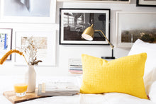 Load image into Gallery viewer, Yellow geometric chenille pillows soft to the touch