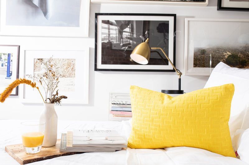 Yellow geometric chenille pillows soft to the touch