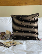 Load image into Gallery viewer, black and silver greek key throw pillows