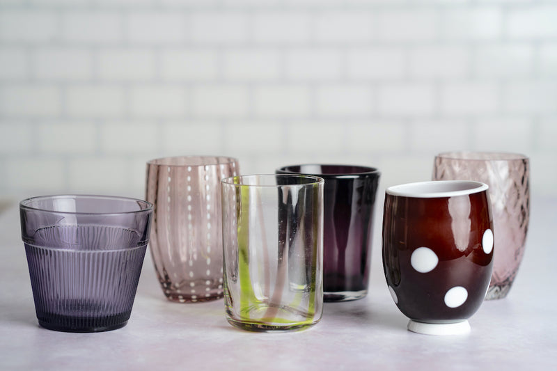 colorful hand made glassware by master glass blowers designed in italy. designed by zafferano.