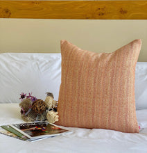Load image into Gallery viewer, orang multi color tweed pillow cover with feather insert included