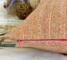 Load image into Gallery viewer, orang multi color tweed pillow cover with signature pink zipper and feather insert included