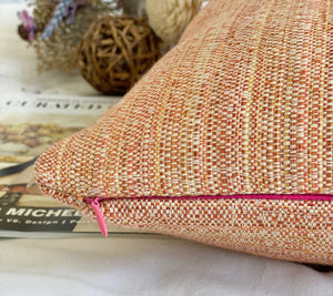 orang multi color tweed pillow cover with signature pink zipper and feather insert included