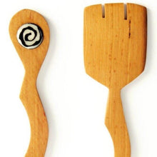 Load image into Gallery viewer, Wild Olive Wood Dune Salad Servers with Bone
