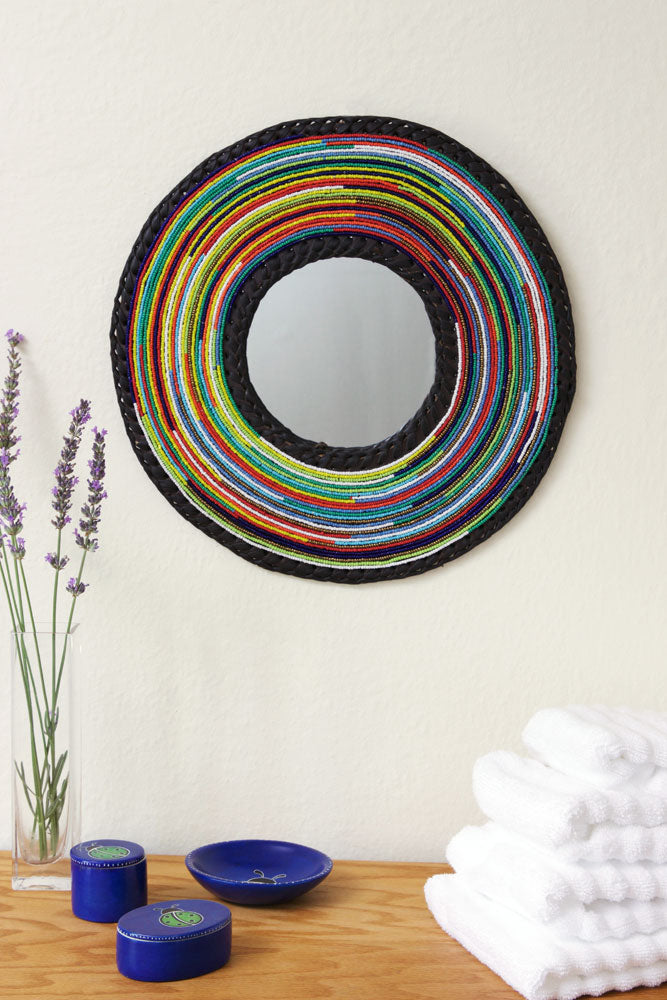 maasai colorful mirror with black outline. handcrafted with beads in kenya. decorative mirror with leather backing 12 inch for bathroom, hallway, bedroom or any room you want color in your home!