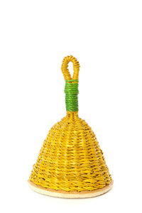 Yellow and Green Woven Elephant Grass Rattles- Small