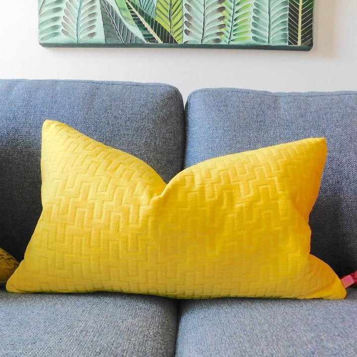 Geometric textured chenille in vibrant yellow