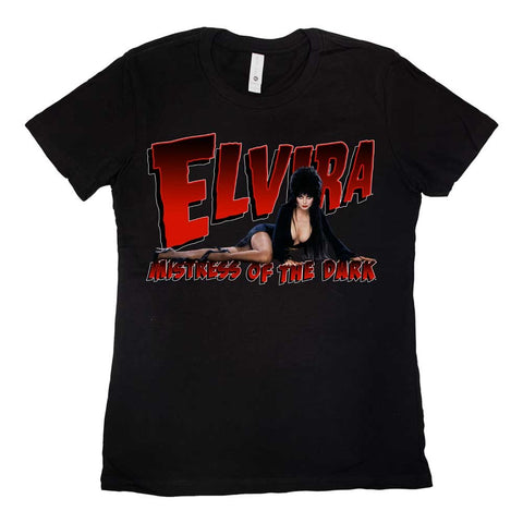 Elvira Lay Down Red Logo Womens Tee