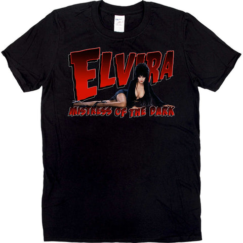 Elvira Lay Down Red Logo Mens Tshirt