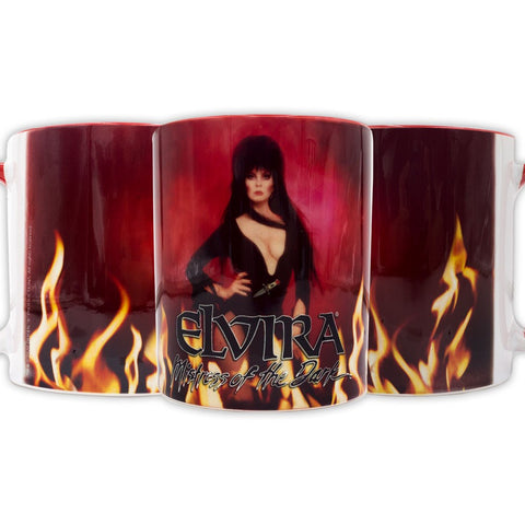Elvira In Flames Red Rim Mug