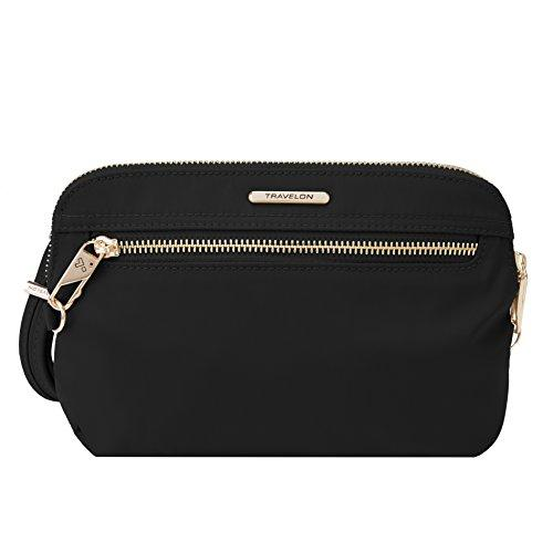 Travelon Women's Anti-Theft Tailored Convertible Crossbody Clutch Cross Body Bag Onyx One Size