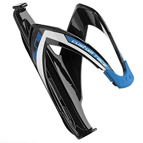 Elite Custom Race Bicycle Water Bottle Cage (Black Glossy ; Blue Graphic)