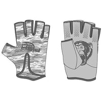 Fish Monkey Gloves Stubby Guide Gloves, Large, Grey Water Camo