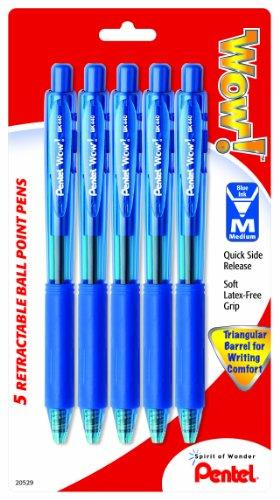 Pentel WOW! Retractable Ballpoint Pens, Medium Line, Blue Ink, 5 Pack (BK440BP5C)
