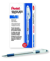 Pentel BK91C R.S.V.P. Stick Ballpoint Pen, 1mm, Trans Barrel, Blue Ink (Pack of 12)