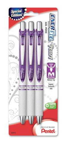Pentel EnerGel Pearl Deluxe RTX Retractable Liquid Gel Pen, 0.7mm, Violet Accent, Violet Ink, 3 Pack (BL77WBP3V)