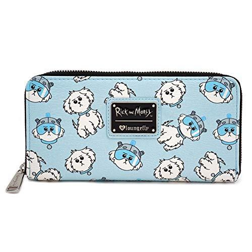 Loungefly Rick and Morty Snuffles Dog AOP Zip Around Wallet, Light Blue, 8 x 4 x 1