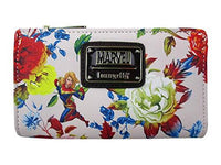 Loungefly x Captain Marvel Faux-Leather Floral Bifold Wallet (Multicolored, One Size)