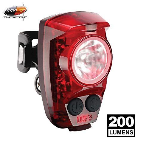 "CYGOLITE Hotshot Pro‰€"" 200 Lumen Bike Tail Light‰€"" 6 Night & Daytime Modes‰€"" User Tuneable Flash Speed‰€"" Compact Design‰€"" IP64 Water Resistant‰€"" Sturdy Flexible Mount‰€"" USB Rechargeable‰€"" Great for Busy Roads"