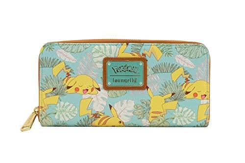 Loungefly x Pokemon Pikachu Leaves Mint Zip-Around Wallet (Mint, One Size)