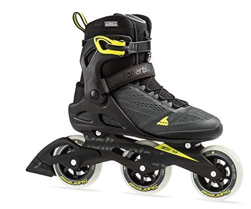 Rollerblade Macroblade 100 3WD Men's Adult Fitness Inline Skate, Anthracite and Neon Yellow, Performance Inline Skates