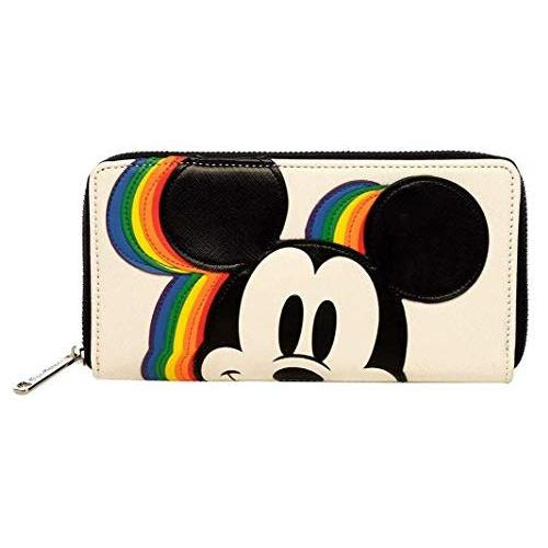 Loungefly x Disney Rainbow Mickey Mouse Zip-Around Wallet (Multicolored, One Size)