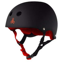 Triple Eight Sweatsaver Liner Skateboarding Helmet, Black Rubber w/ Red, X-Small