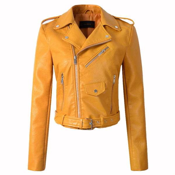 Motorcycle Faux Leather Jackets For Women