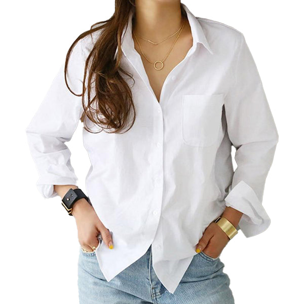 One Pocket White Casual Shirt