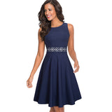 Vintage Casual Round Neck A-line Sleeveless Elegant Party Dress