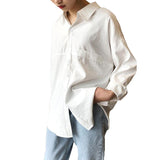 Women Long Sleeve Retro Turn-Down Collar Oversize Shirt