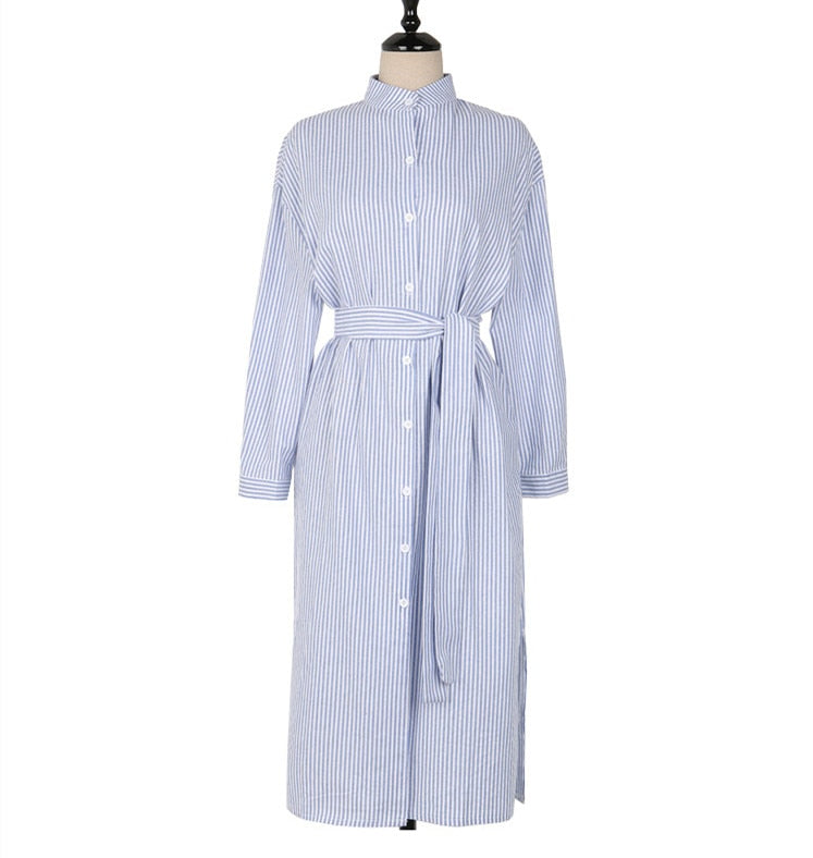 Women Elegant Casual Striped Shirt Dress