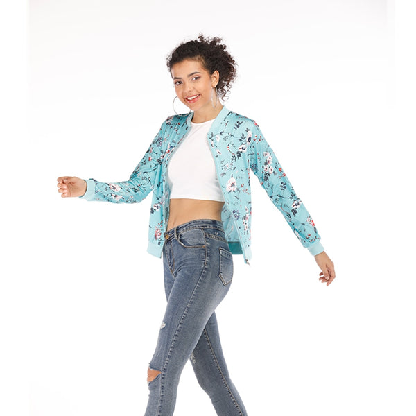 Plus Size Floral Printed Bomber Jacket For Women