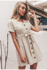 Women Vintage V Neck Short Sleeve Office Mini Dress