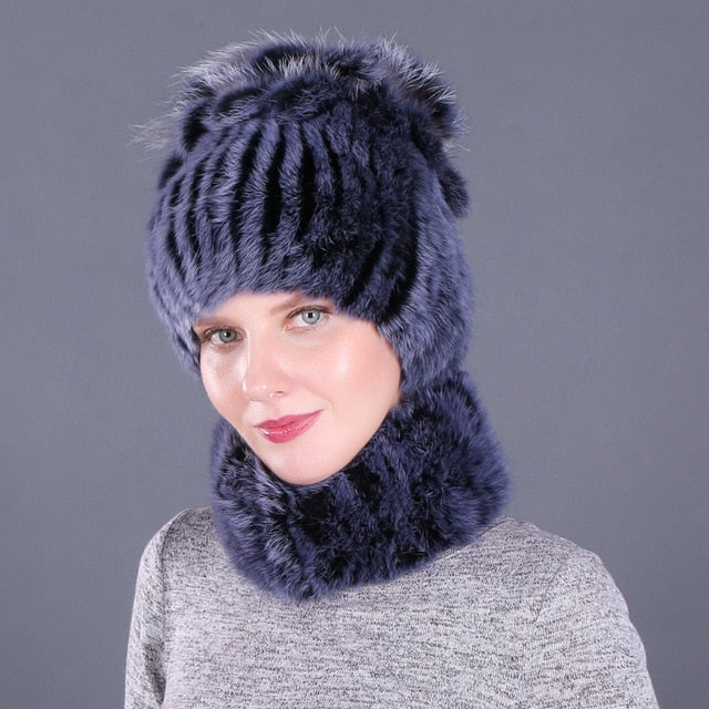 Elastic Knitted Rabbit Fur Beanie And Collar For Women