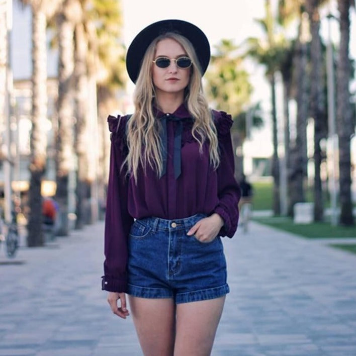 Denim High Waist Cuffed Jeans Shorts