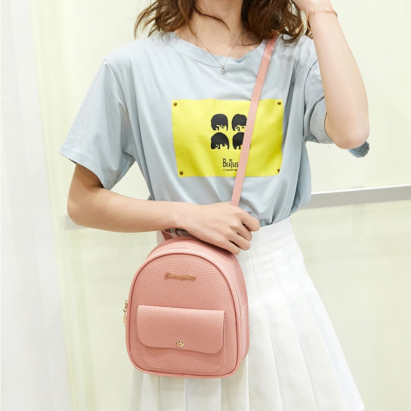 Mini PU Leather Backpack For Teenage Girls