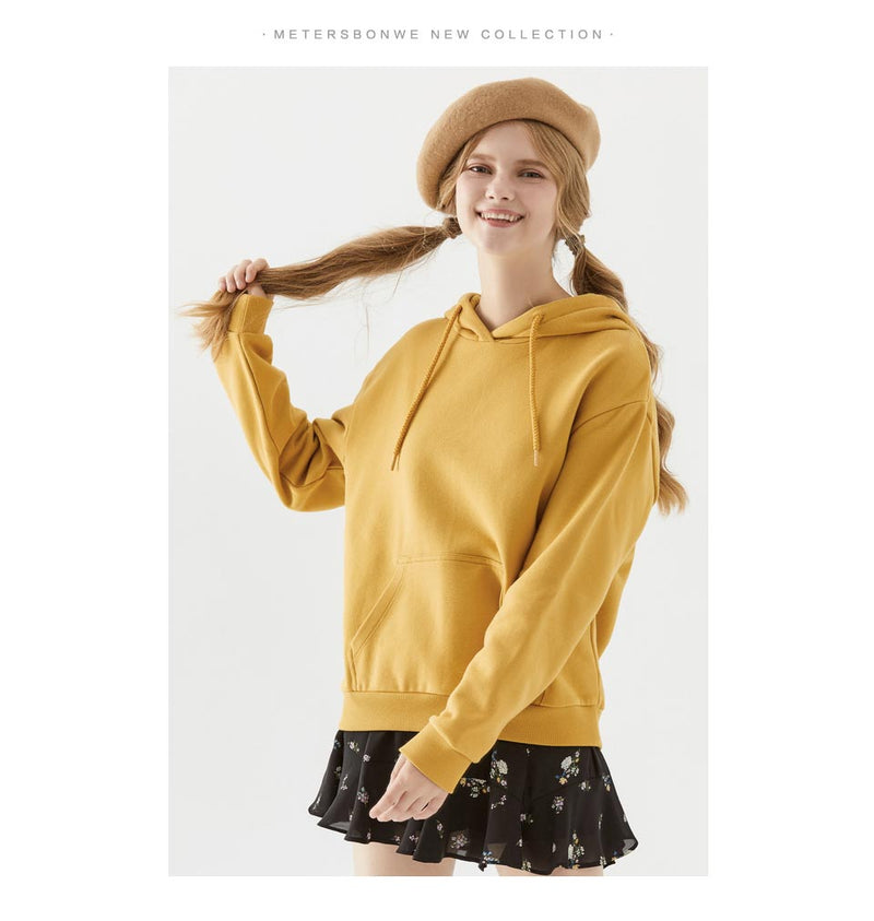 Female Wild Korean Tide Loose Hooded Pullover Sweatshirt
