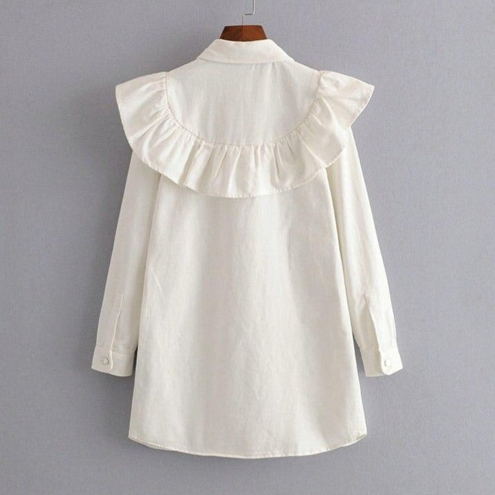 Women Elegant White Denim Ruffles Mini Dress