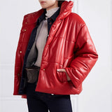 Solid PU Leather Women Elegant Jacket