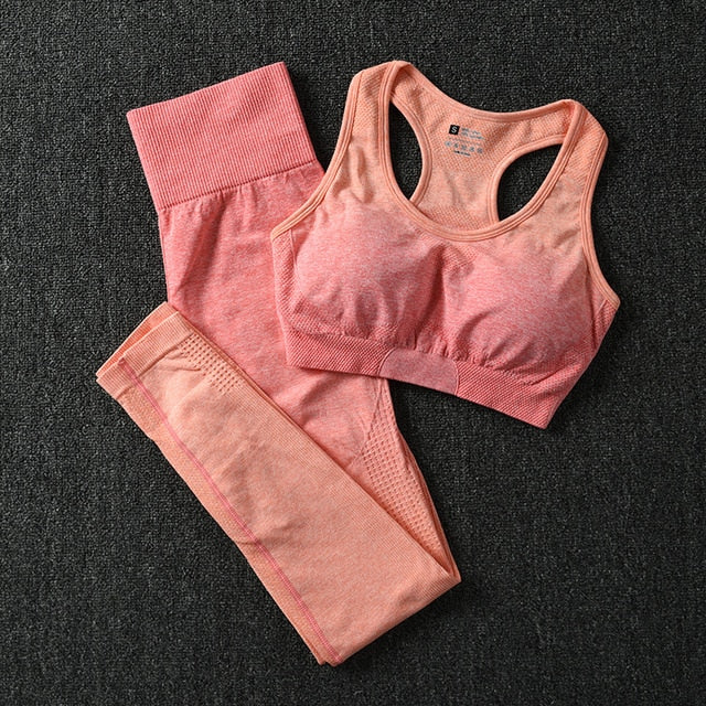 Two Piece Yoga, Sports And Gym Seamless Suit For Women