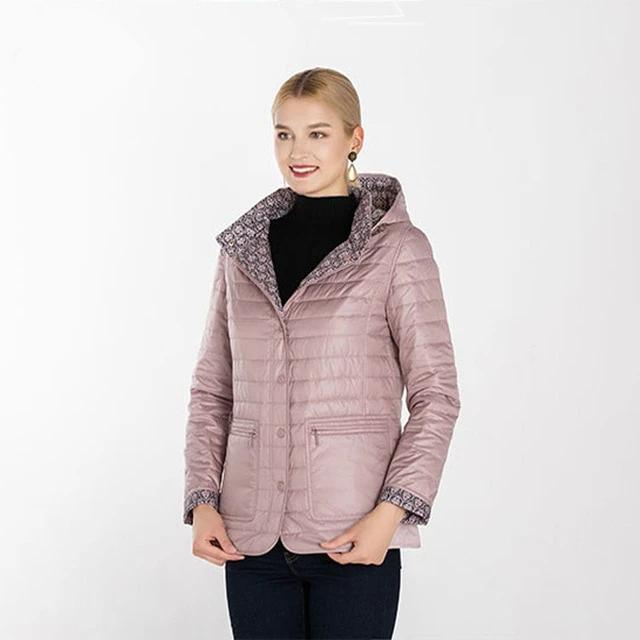 Women Cotton Padded Hooded Reversible Jacket